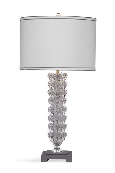 Bassett Mirror Elanor Old World Metallic Gray Glass Table Lamp BMC-L3319TEC