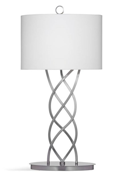 Bassett Mirror Melina Modern Silver Metal Drum Table Lamp BMC-L3323TEC