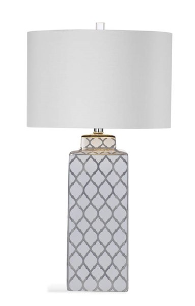 Bassett Mirror Sydney Silver Ceramic Drum Table Lamp BMC-L3335TEC