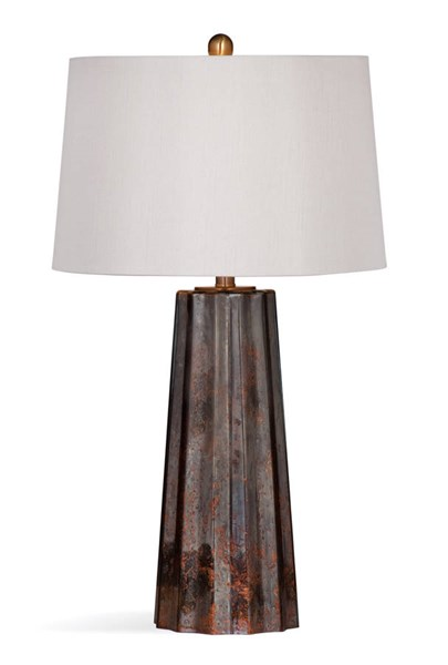 Bassett Mirror Caleb Copper Mercury Glass Round Table Lamp BMC-L3337TEC