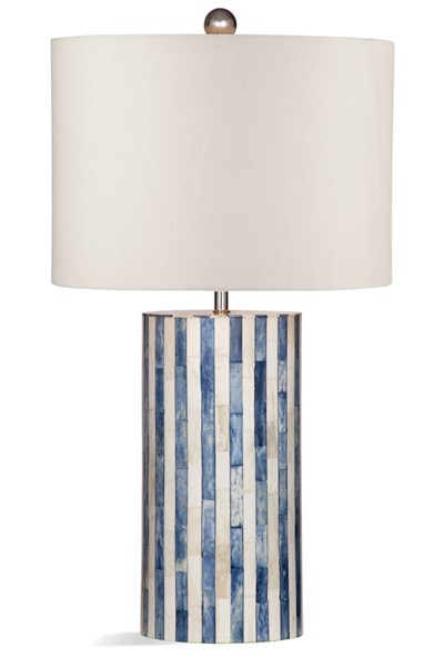 Bassett Mirror Coburn White Blue Bone Table Lamp BMC-L3795TEC