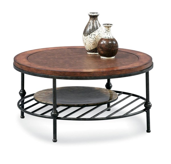 Bassett Mirror Bentley Tobacco Pewter Round Inset Leather Cocktail Table BMC-T1062-120EC
