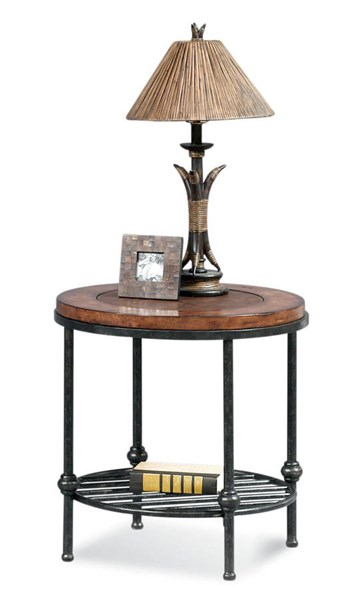 Bentley Tobacco Pewter Round End Table ( Inset Leather ) BMC-T1062-220EC