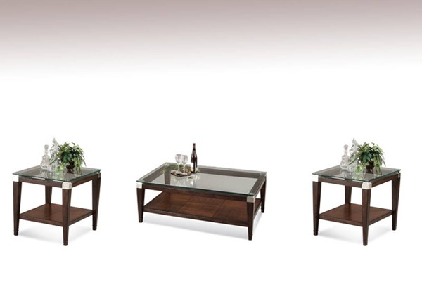 Dunhill Cappuccino Wood Glass Coffee Table Set BMC-T1171-CT