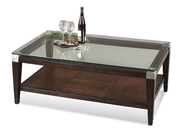 Bassett Mirror Dunhill Cappuccino Modern Glass Top Rectangle Cocktail Table BMC-T1171-100EC