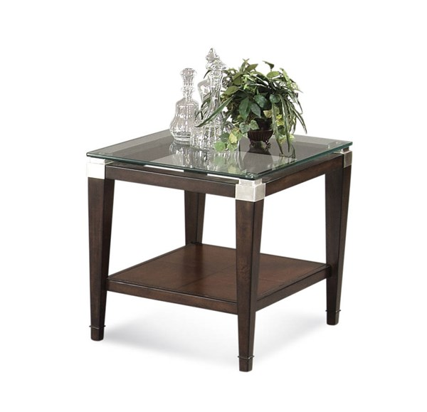 Bassett Mirror Dunhill Modern Cappuccino Glass Top Rectangle End Table BMC-T1171-200EC