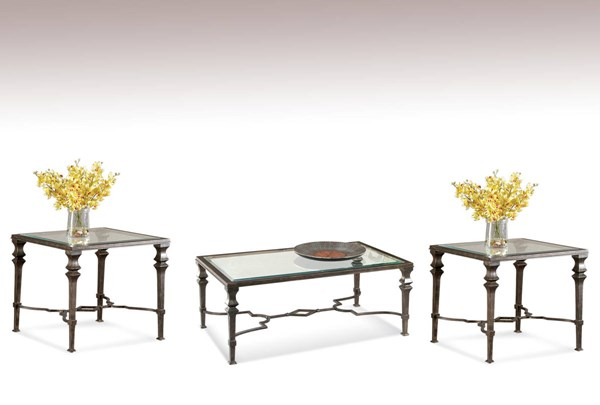 Lido Old World Burnished Bronze Metal Glass Coffee Table Set BMC-T1210-CT