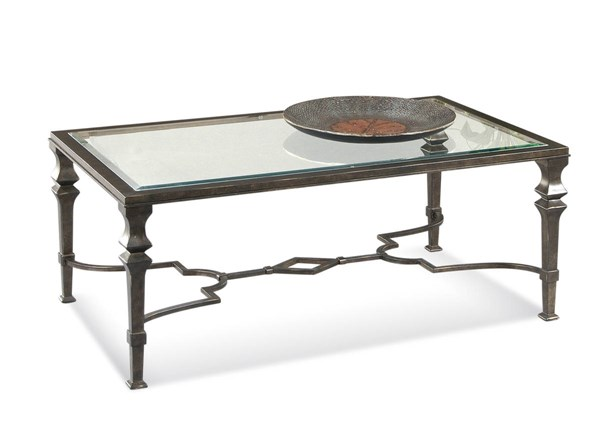 Bassett Mirror Lido Old World Burnished Bronze Glass Top Rectangle Cocktail Table BMC-T1210-100EC