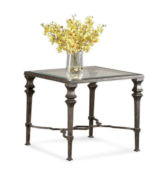 Lido Burnished Bronze Old World Glass Metal Square End Table BMC-T1210-250EC