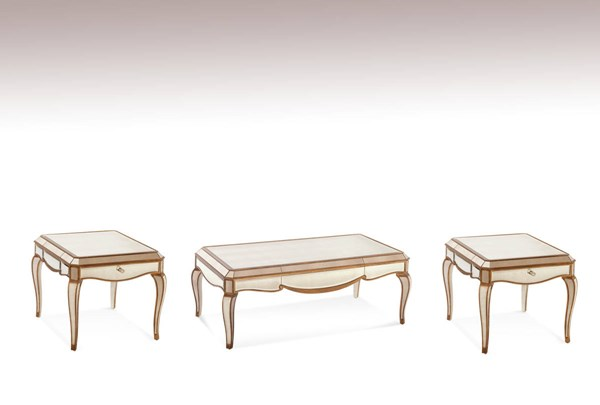 Collette Wood Glass Coffee Table Set W/Mirrored BMC-T1267-CT