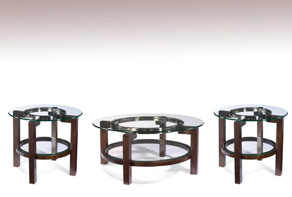 Oslo Brown Wood Glass Round Coffee Table Set BMC-T1705-CT