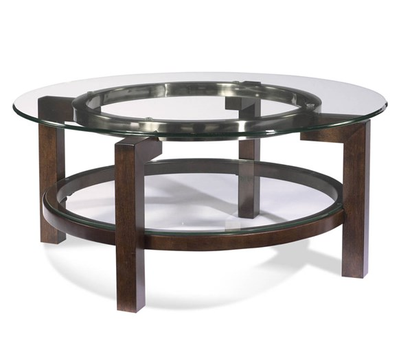Bassett Mirror Oslo Modern Brown Glass Top Round Cocktail Table BMC-T1705-120EC