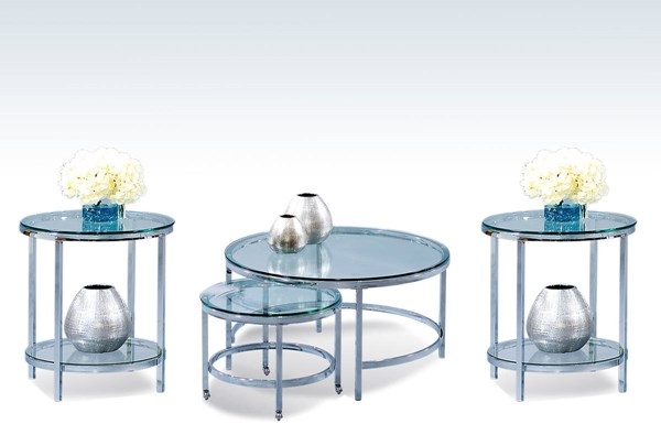 Patinoire Silver Metal Glass Coffee Table Set BMC-T1792-CT