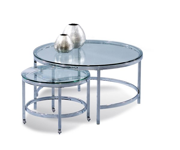 Bassett Mirror Patinoire Silver Round Casters Cocktail Table BMC-T1792-120CEC