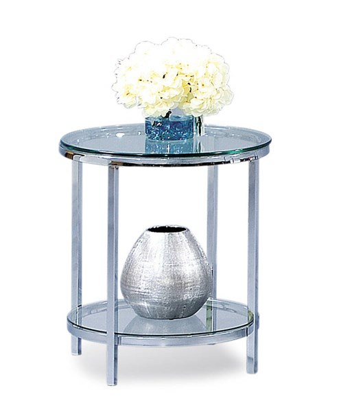 Bassett Mirror Patinoire Silver Glass Top Round End Table BMC-T1792-220EC