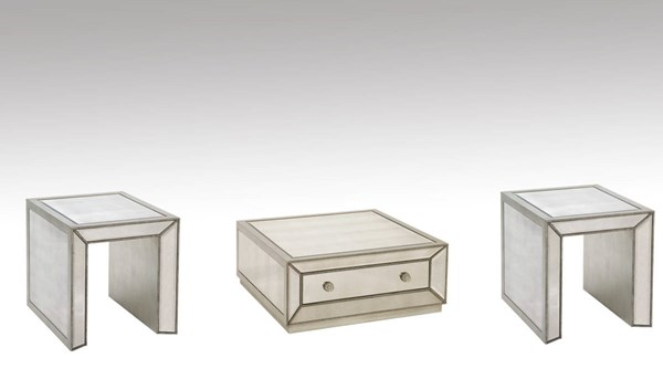 Murano Hollywood Glam 3pc Castered Cocktail Coffee Table Set BMC-T2624-131CEC-CT-S