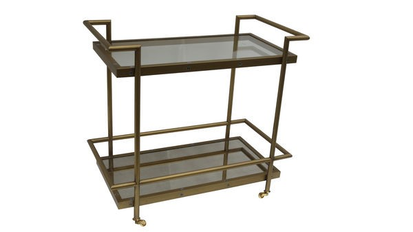 Fouquet Modern Metal Glass Tea Cart W/shelves BMC-T2739-471EC