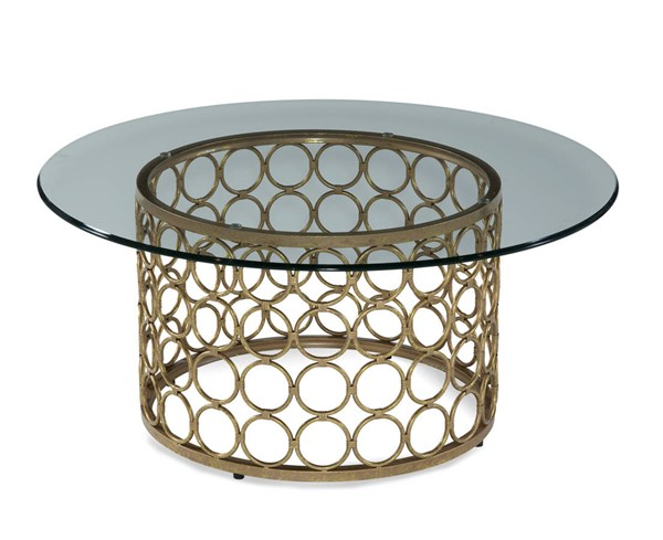 Carnaby Modern Metal Glass Round Cocktail Table BMC-T2789-120B-TEC