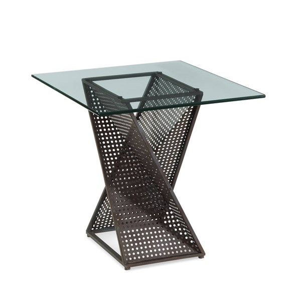 Bolton Modern Glass Steel Rectangle End Table BMC-T2808-200B-TEC