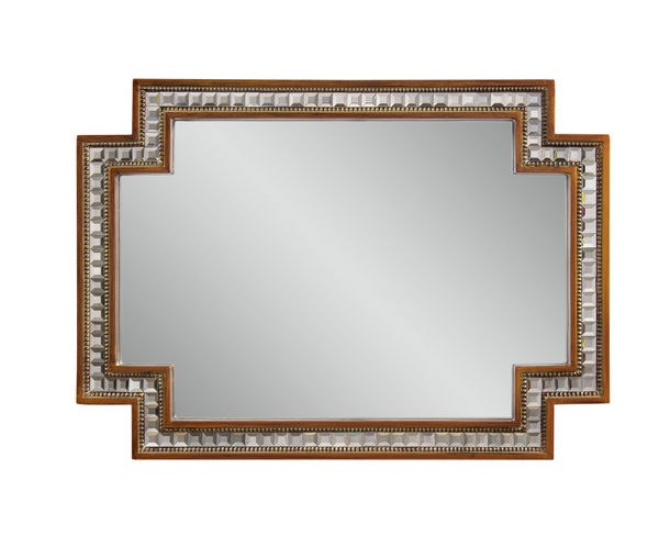 Garibaldi Gold Leaf & Clear Rectangle Wall Mirror BMC-M1357EC
