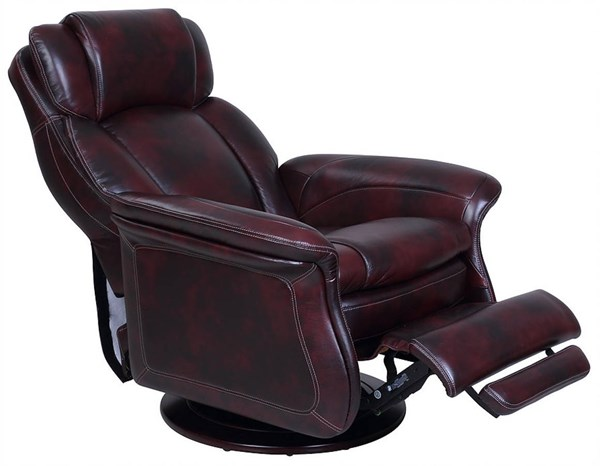 Jerome Plymouth Mahogany Leather Match Swivel Pedestal Recliner BRC-15-3068-3605-87