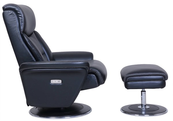 Walker Black Leather Match Pedestal Power Recliner And Ottoman Set BRC-15P-3065-3456-99