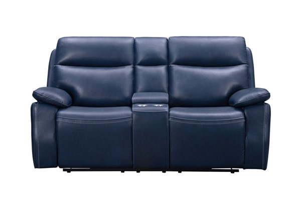 Barcalounger Micah Marco Navy Blue Leather Match Console Loveseat BRC-24PH3628373145