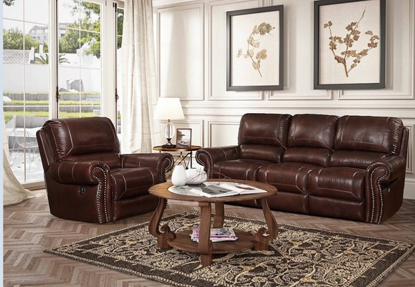 Nora Traditional Barton Amber Leather Match 2pc Living Room Set BRC-NORA-LR-S