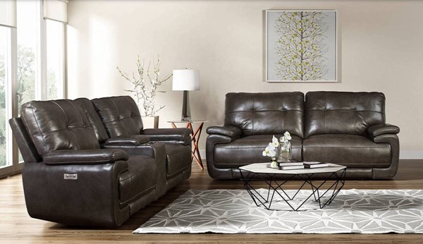 Viktor Trevor Smoke Leather Match Power Living Room Set BRC-VIKTOR-LR