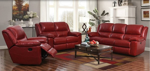 Laguna Contact Red Leather Match Power 3pc Living Room Set BRC-LAGUNA-RED-LR-S