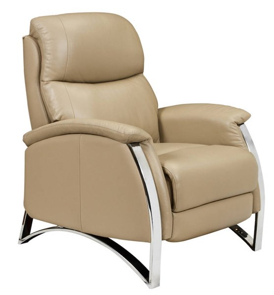 Reed Contemporary Franklin Stone Chrome Arms Leather Recliner BRC-7-3003-5514-85