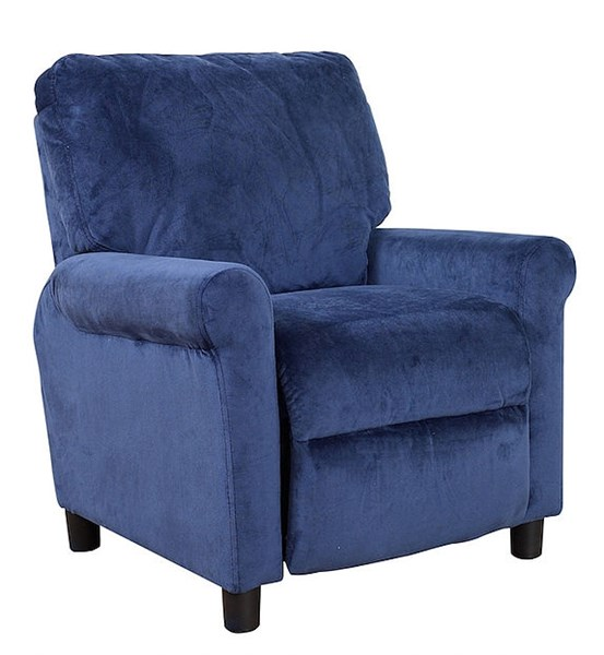 Claire Bella Navy Fabric Kids Push Thru The Arms Recliner BRC-7-3017-3001-45