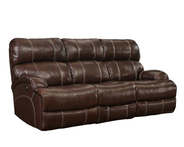 Barclay Casual Aurora Hazel Leather Match Seat Cushions Power Sofa BRC-39-3025-3443-86