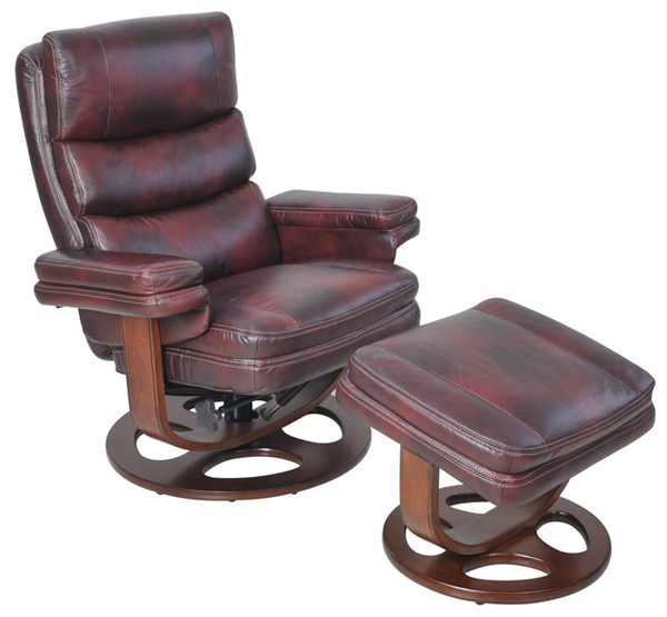 Bella Mahogany Leather Match Pedestal Recliner And Ottoman Set BRC-15-8023-3605-87