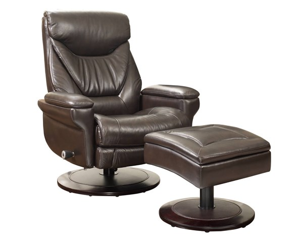 Cinna Roasted Chestnut Leather Match Pedestal Recliner And Ottoman Set BRC-15-8028-3438-86
