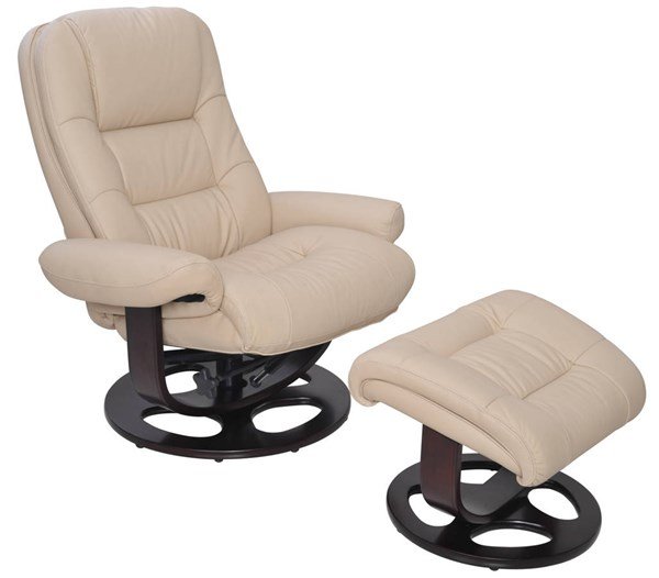 Jacque Ivory Black Gray Leather Match Recliner And Ottoman Sets BRC-JACQUE-RECOTT-VAR
