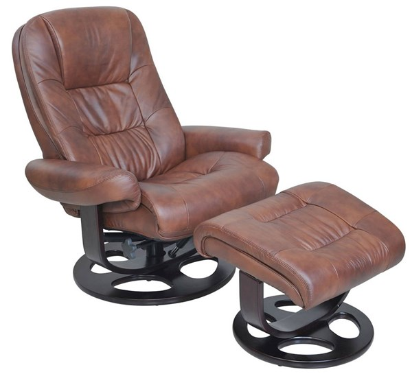 Jacque Hilton Whiskey Leather Match Pedestal Recliner And Ottoman Set BRC-15-8021-3601-86
