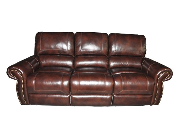 Nora Traditional Barton Amber Leather Match 3-Seat Reclining Sofa BRC-35-3027-3150-86