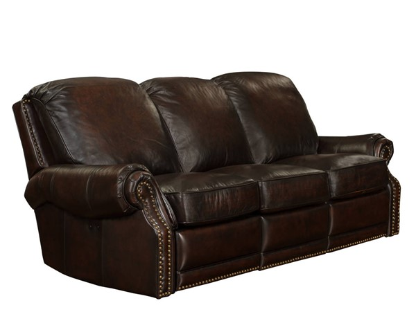 Premier Traditional Stetson Coffee Leather Reclining Power Sofa BRC-39-6600-5407-41
