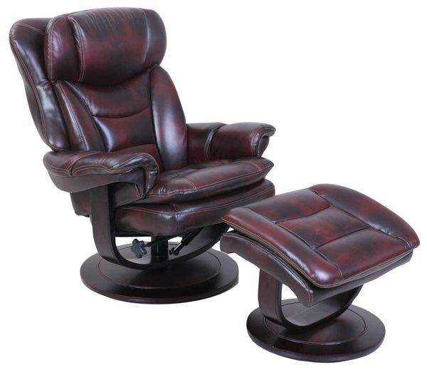 Roscoe Mahogany Leather Match Pedestal Recliner And Ottoman Set BRC-15-8039-3605-87