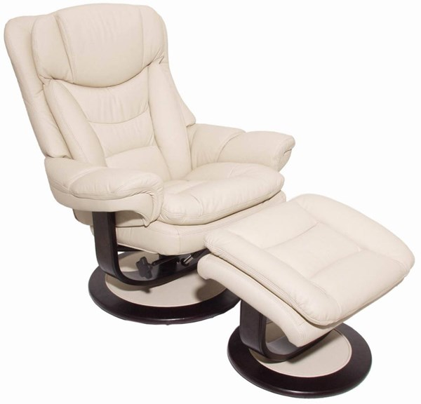 Roscoe Ivory Mahogany Leather Match Recliner And Ottoman Sets BRC-ROSCOE-RECOTT-VAR