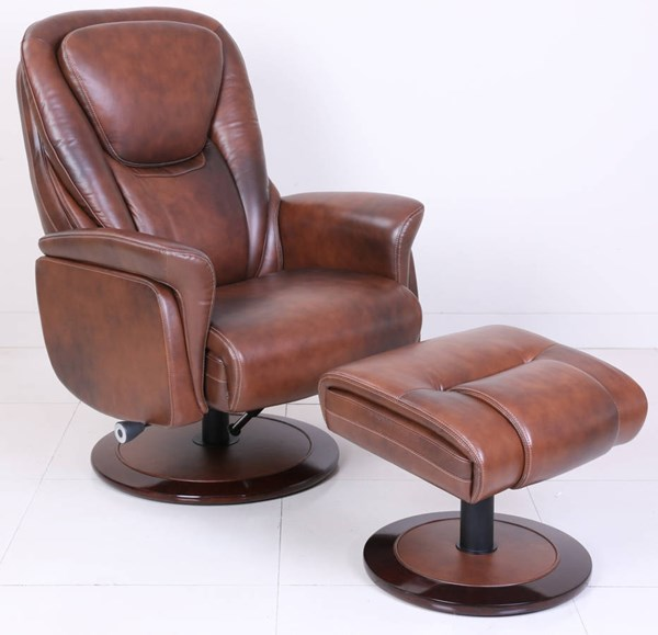 Sadie Rustic Coffee Bean Leather Match Pedestal Recliner & Ottoman Set BRC-15-8031-3438-84