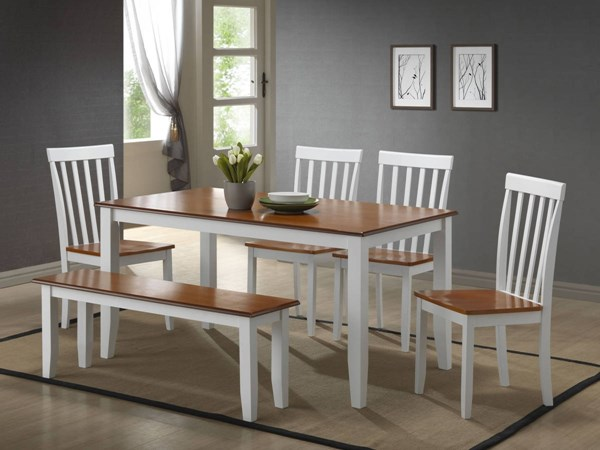 Boraam Bloomington White Honey 6pc Dining Room Set BRM-2103-DR-S4