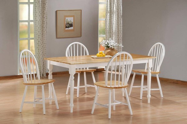 Boraam Farmhouse White Natural 5pc Dining Room Set BRM-7036-DR-S1