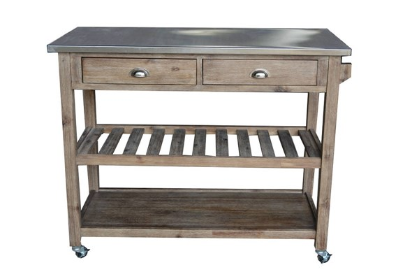 Sonoma Transitional Gray Wood Steal Kitchen Cart BRM-98520