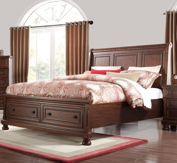 Bernards Prescott Warm Cherry Brown King Drawer Bed BRND-1041