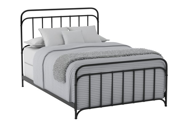 Bernards Shelby Black Queen Metal Panel Bed BRND-1800-206
