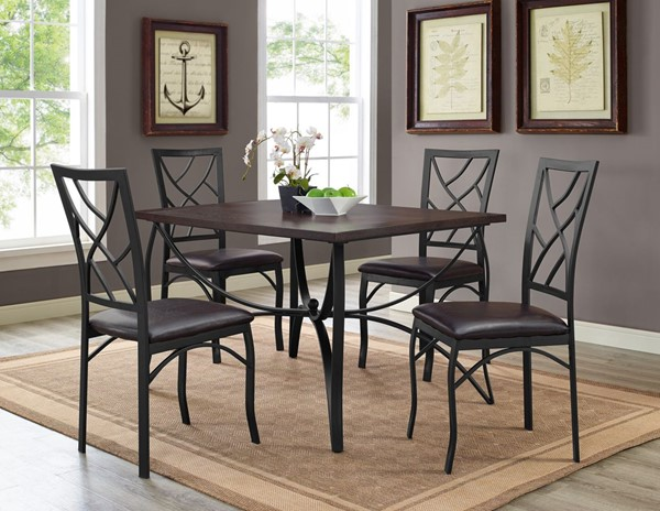 Bernards Sanford Black Casual 5pc Dining Table Set BRND-4308PU