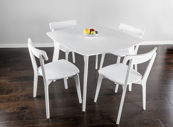 Bernards White Casual Rectangle 5pc Dining Set BRND-5992DS-500