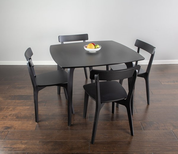Bernards Black Casual Rectangle 5pc Dining Set BRND-5996DS-500